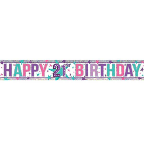 Holographic Pink Happy 21st Birthday Foil Banner